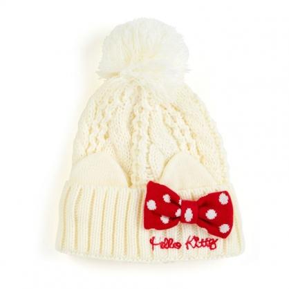 小禮堂 Hello Kitty 兒童毛球造型針織帽 毛線帽 保暖帽 毛帽  (米紅 2020冬日特輯)