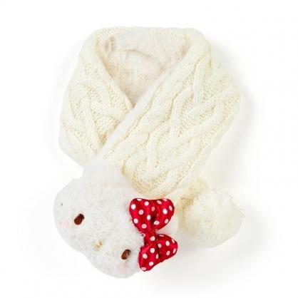 小禮堂 Hello Kitty 兒童造型絨毛針織圍巾 保暖圍巾 脖圍 (米紅 2020冬日特輯)
