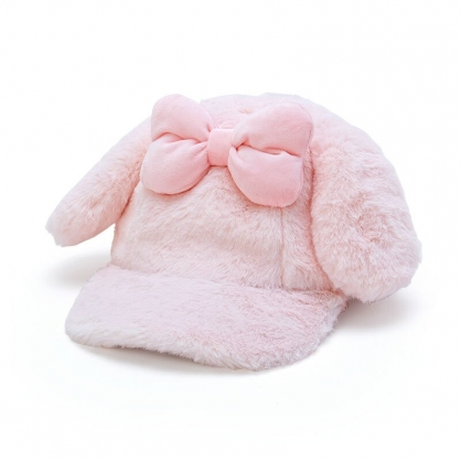 小禮堂 美樂蒂 造型耳朵絨毛鴨舌帽 保暖帽 兔耳帽 老帽 (粉 2020冬日特輯)