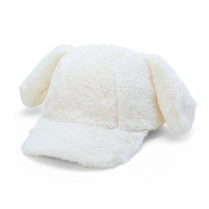 小禮堂 大耳狗 造型耳朵絨毛鴨舌帽 保暖帽 兔耳帽 老帽 (白 2020冬日特輯)