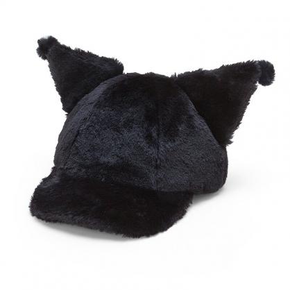 小禮堂 酷洛米 造型耳朵絨毛鴨舌帽 保暖帽 兔耳帽 老帽 (黑 2020冬日特輯)