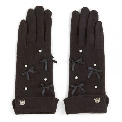 小禮堂 酷洛米 成人造型棉質手套 觸控手套 保暖手套 (黑 2020冬日特輯)