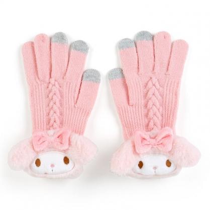 小禮堂 美樂蒂 成人造型絨毛針織手套 觸控手套 保暖手套 (粉 2020冬日特輯)