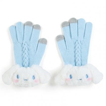 小禮堂 大耳狗 成人造型絨毛針織手套 觸控手套 保暖手套 (淺藍 2020冬日特輯)