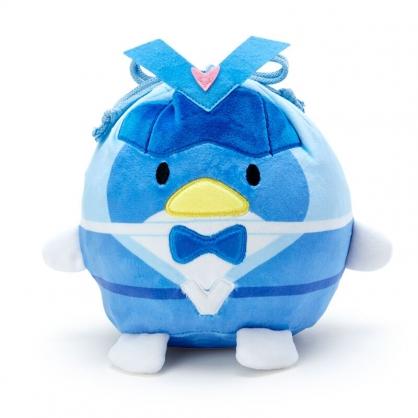 小禮堂 山姆企鵝 造型絨毛束口袋 旅行收納袋 小物袋 縮口袋 (藍 英雄戰隊)
