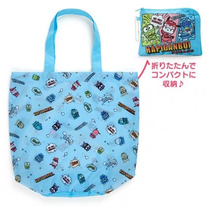 小禮堂 Sanrio大集合 折疊尼龍環保購物袋 環保袋 側背袋 手提袋 (藍 英雄戰隊)