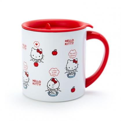 小禮堂 Hello Kitty 單耳不鏽鋼杯 附蓋 保溫馬克杯 咖啡杯 300ml (紅白 滿版)