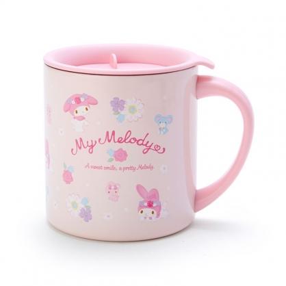 小禮堂 美樂蒂 單耳不鏽鋼杯 附蓋 保溫馬克杯 咖啡杯 300ml (粉 滿版)