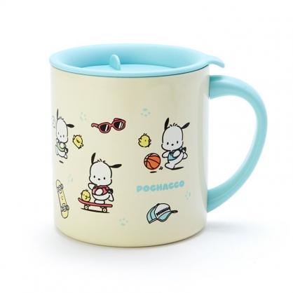 小禮堂 帕恰狗 單耳不鏽鋼杯 附蓋 保溫馬克杯 咖啡杯 300ml (黃綠 滿版)