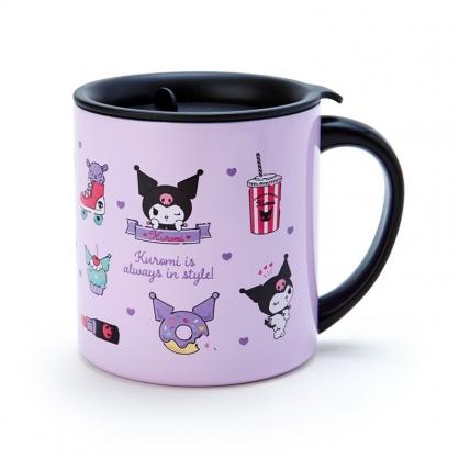 小禮堂 酷洛米 單耳不鏽鋼杯 附蓋 保溫馬克杯 咖啡杯 300ml (紫黑 滿版)