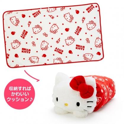 小禮堂 Hello Kitty 造型可收納毛毯披肩 單人毯 薄毯 靠枕 70x110cm (紅白 2020冬日特輯)