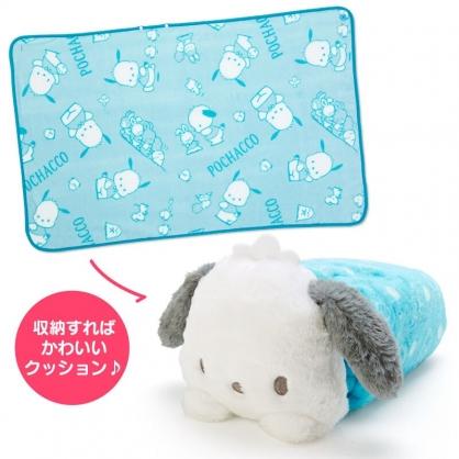 小禮堂 帕恰狗 造型可收納毛毯披肩 單人毯 薄毯 靠枕 70x110cm (藍白 2020冬日特輯)