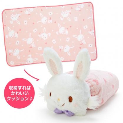 小禮堂 許願兔 造型可收納毛毯披肩 單人毯 薄毯 靠枕 70x110cm (粉白 2020冬日特輯)