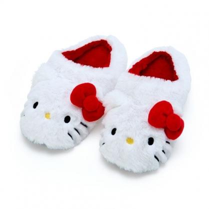 小禮堂 Hello Kitty 全包式造型絨毛拖鞋 室內拖鞋 保暖拖鞋 (紅白 2020冬日特輯)