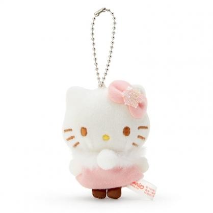 小禮堂 Hello Kitty 迷你絨毛吊飾 玩偶吊飾 玩偶鑰匙圈 (粉白 毛毛領)