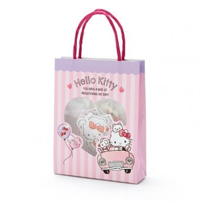 小禮堂 Hello Kitty 日製 手提紙袋造型貼紙組 手帳貼紙 卡片貼紙 裝飾貼紙 (粉紫)