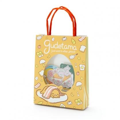 小禮堂 蛋黃哥 日製 手提紙袋造型貼紙組 手帳貼紙 卡片貼紙 裝飾貼紙 (黃橘)