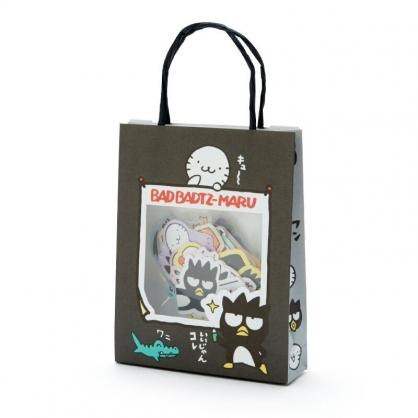 小禮堂 酷企鵝 日製 手提紙袋造型貼紙組 手帳貼紙 卡片貼紙 裝飾貼紙 (黑灰)