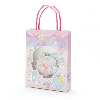 小禮堂 Sanrio大集合 日製 手提紙袋造型貼紙組 手帳貼紙 卡片貼紙 裝飾貼紙 (粉紫)