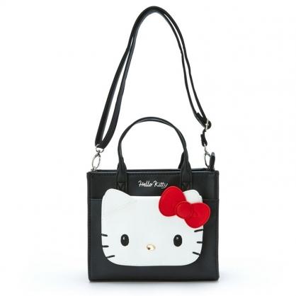 小禮堂 Hello Kitty 方形皮質手提包 皮質斜背包 小方包 側背包 (黑紅 大臉)
