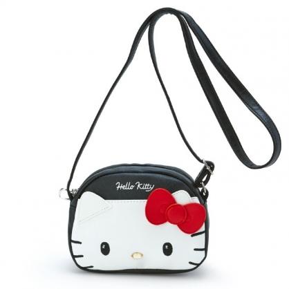 小禮堂 Hello Kitty 三角皮質斜背包 皮質背包 隨身背包 小包包 (黑紅 大臉)