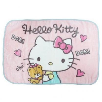 小禮堂 Hello Kitty 圓角毛毯披肩 單人毯 薄毯 蓋毯 70x100cm (粉綠 小熊)