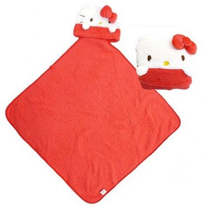 小禮堂 Hello Kitty 造型可收納毛毯披肩 單人毯 薄毯 靠枕 80x80cm (紅 大臉)