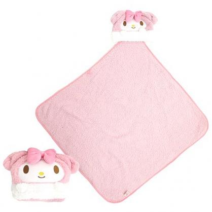 小禮堂 美樂蒂 造型可收納毛毯披肩 單人毯 薄毯 靠枕 80x80cm (粉 大臉)