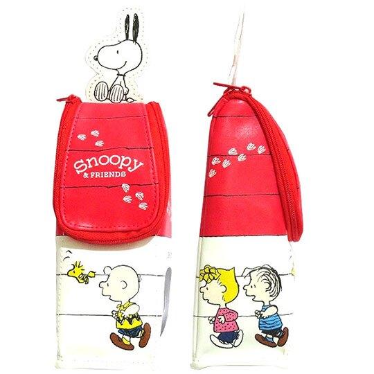 小禮堂 史努比 造型直式皮質拉鍊筆袋 皮質筆袋 鉛筆盒 鉛筆袋 (紅白 狗屋)