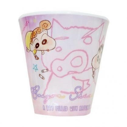 小禮堂 蠟筆小新 無把美耐皿杯 塑膠杯 兒童水杯 270ml (粉 塗鴉)