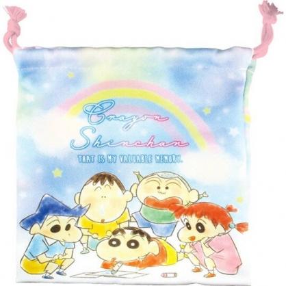 小禮堂 蠟筆小新 棉質束口袋 旅行收納袋 小物袋 縮口袋 (藍 彩虹)