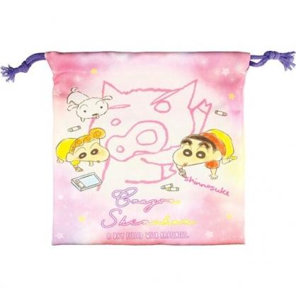 小禮堂 蠟筆小新 棉質束口袋 旅行收納袋 小物袋 縮口袋 (粉 塗鴉)