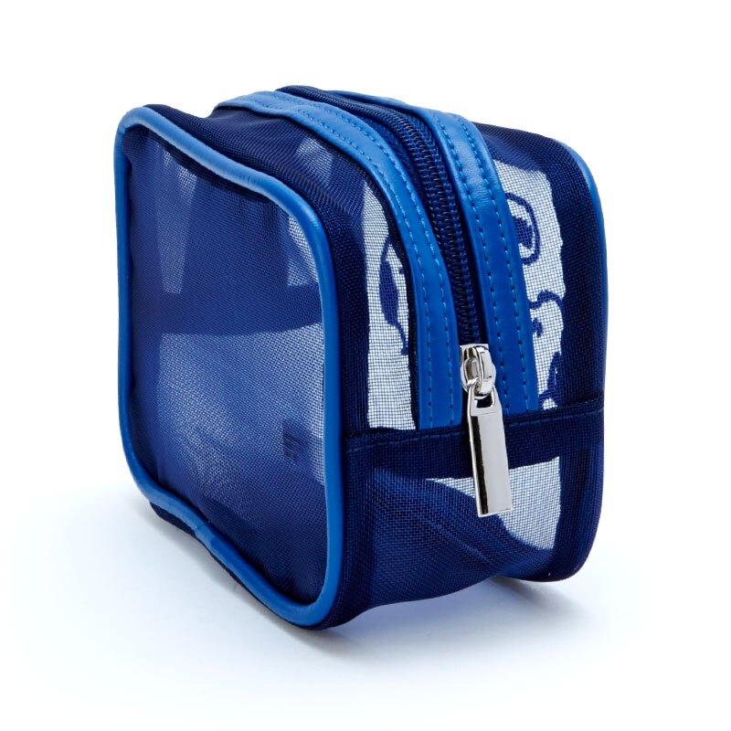 小禮堂 史努比 方形網紗化妝包 透明化妝包 盥洗包 小物包 (深藍 美式漫畫)