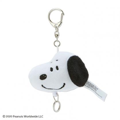 小禮堂 史努比 造型絨毛易拉扣鑰匙圈 伸縮鑰匙圈 玩偶鎖圈 (白 美式漫畫)