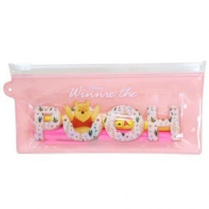 小禮堂 迪士尼 小熊維尼 三件式文具組 附夾鏈袋 直尺 螢光筆 自動鉛筆 (粉 LOGO)
