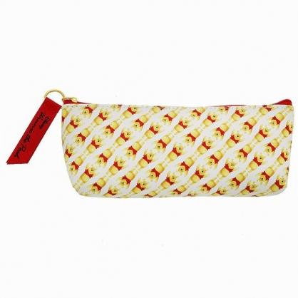 小禮堂 迪士尼 小熊維尼 三角皮質拉鍊筆袋 皮質筆袋 鉛筆盒 鉛筆袋 (黃紅 滿版)