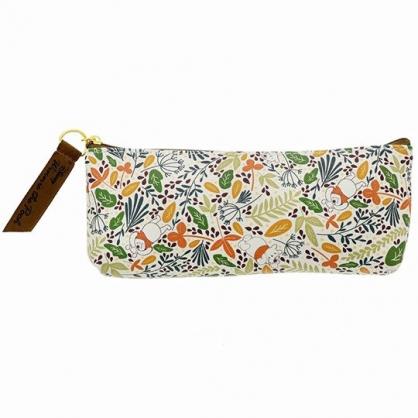 小禮堂 迪士尼 小熊維尼 三角皮質拉鍊筆袋 皮質筆袋 鉛筆盒 鉛筆袋 (綠橘 花草)