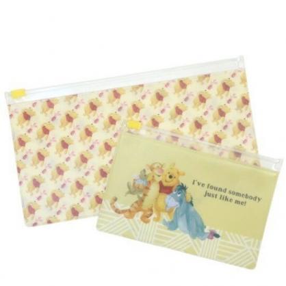 小禮堂 迪士尼 小熊維尼 橫式透明夾鏈袋組 文具袋 飾品袋 筆袋 (2入 黃 朋友)