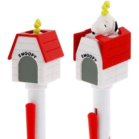 小禮堂 史努比 日製 房屋造型原子筆 自動筆 黑筆 0.5mm SUNSTAR (紅白)