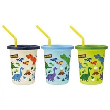 小禮堂 恐龍 日製 塑膠吸管杯 附蓋 塑膠杯 飲料杯 派對杯 320ml (3入 綠藍 火山)