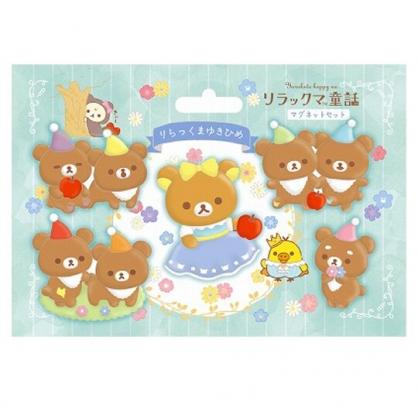 小禮堂 懶懶熊 造型磁鐵組 矽膠磁鐵 冰箱磁鐵 吸鐵 (5入 藍棕 童話故事)