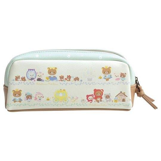 小禮堂 懶懶熊 皮質雙層拉鍊筆袋 皮質筆袋 鉛筆盒 鉛筆袋 (米綠 童話故事)