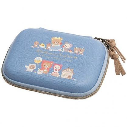 小禮堂 懶懶熊 方形皮質硬殼收納包 皮質化妝包 旅行盥洗包 (藍棕 童話故事)