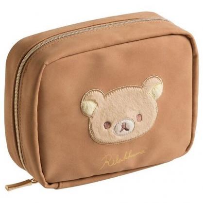 小禮堂 懶懶熊 方形皮質化妝包 皮質收納包 小物包 (棕 大臉)