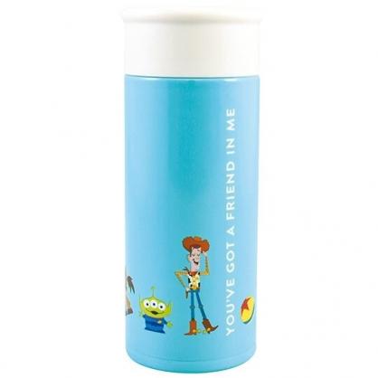 小禮堂 迪士尼 玩具總動員 迷你旋轉蓋不鏽鋼保溫瓶 兒童水壺 隨身瓶 200ml (藍 排站)