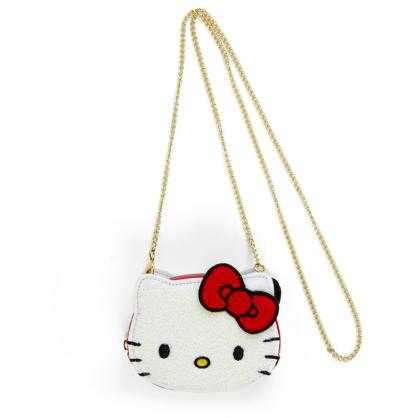 小禮堂 Hello Kitty 造型絨毛鍊條斜背包 皮質斜背包 手拿包 化妝包 (紅黃 雙胞胎生日慶)