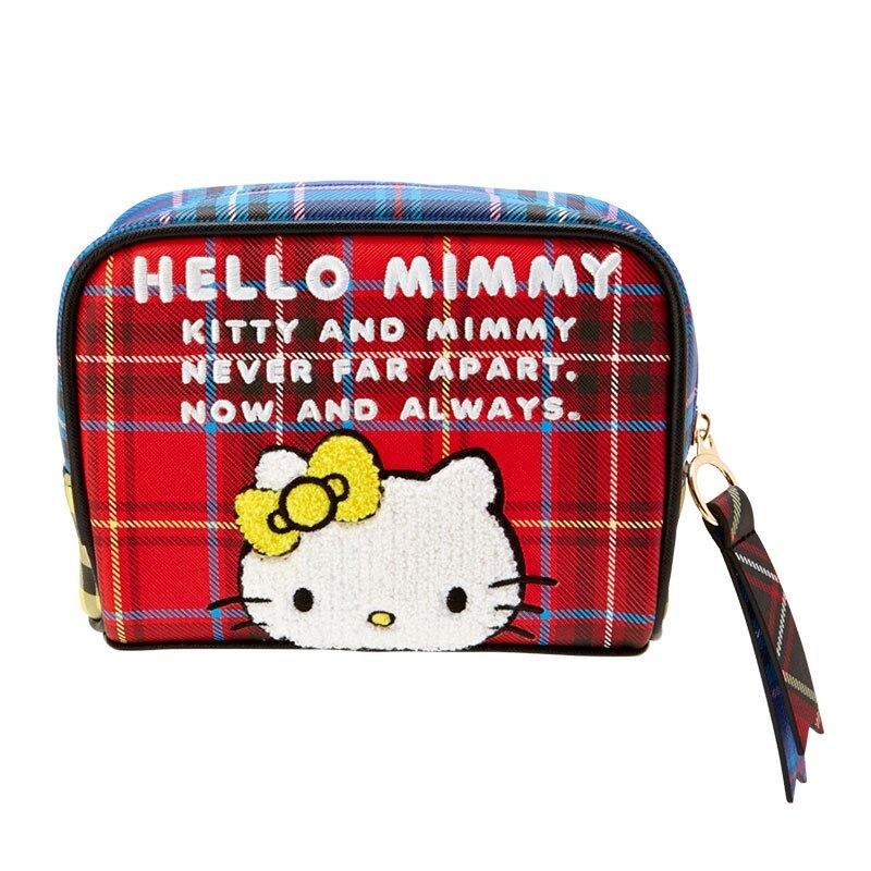 小禮堂 Hello Kitty 方形皮質化妝包 皮質收納包 小物包 (紅黃 雙胞胎生日慶)