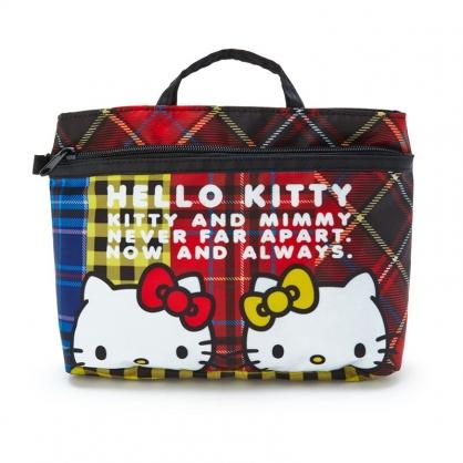 小禮堂 Hello Kitty 尼龍雙格盥洗收納包 多功能收納包 化妝包 手提包 (紅黃 雙胞胎生日慶)