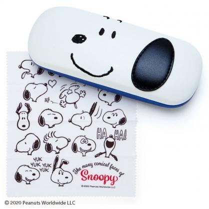 小禮堂 史努比 皮質硬殼眼鏡盒 附眼鏡布 皮質收納盒 小物盒 (米藍 美式漫畫)