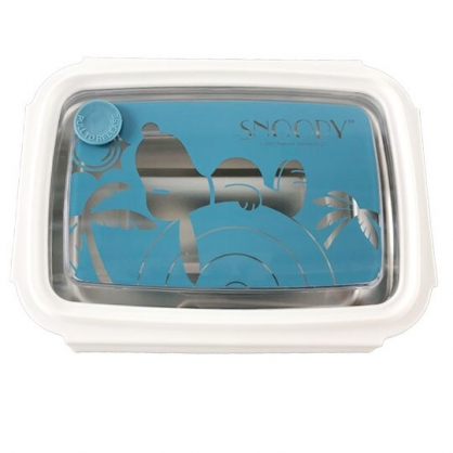 小禮堂 史努比 方形四扣不鏽鋼便當盒 隔熱餐盒 環保餐盒 保鮮盒 800ml (藍 仰躺)